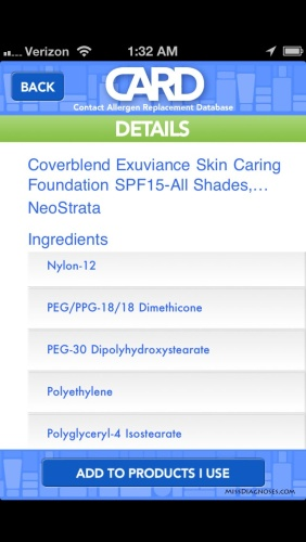 Coverblend Exuviance Foundation ingredients