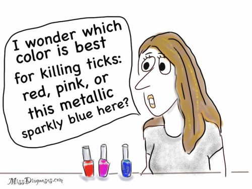 Woman trying to decide which color of nail polish is best for killing ticks