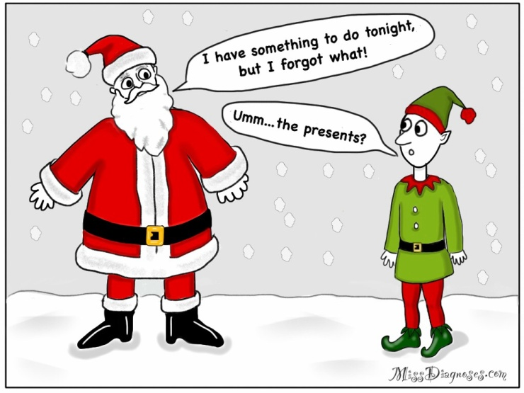 Santa forgets Christmas and needs elf to remind him
