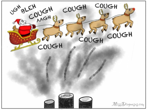 Santa and sleigh fly over factory smokestack