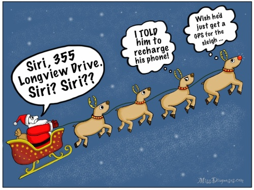 Santa asks Siri for directions but his phone is dead