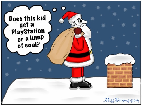 Santa stands on a rooftop and wonders if the kid who lives in the house gets a Playstation or a lump of coal
