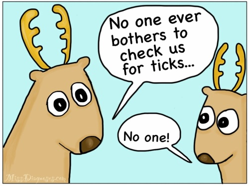 Two reindeer complain that no one ever checks them for ticks