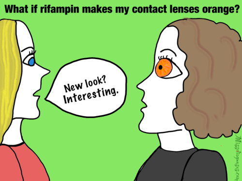 Friend looks at my eyes with orange-stained contacts from rifampin