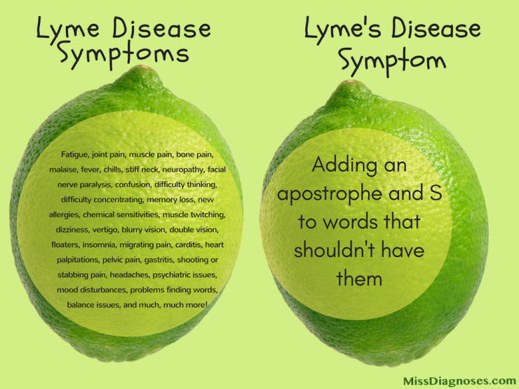 Misspelling of Lyme disease as shown on two limes